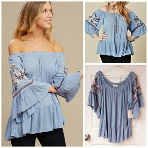 Embroidered Off The Shoulder Peasant Tunic